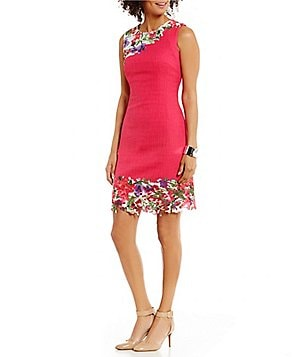 KARL LAGERFELD PARIS Sleeveless Floral Lace Applique Tweed Sheath Dress