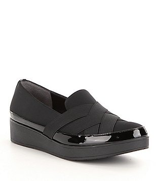 Donald J Pliner Vixie Crepe and Patent Platform Loafers
