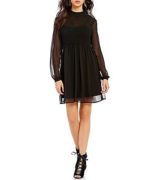 As U Wish Long-Sleeve Smocked Bodice Mock Neck Shift Dress