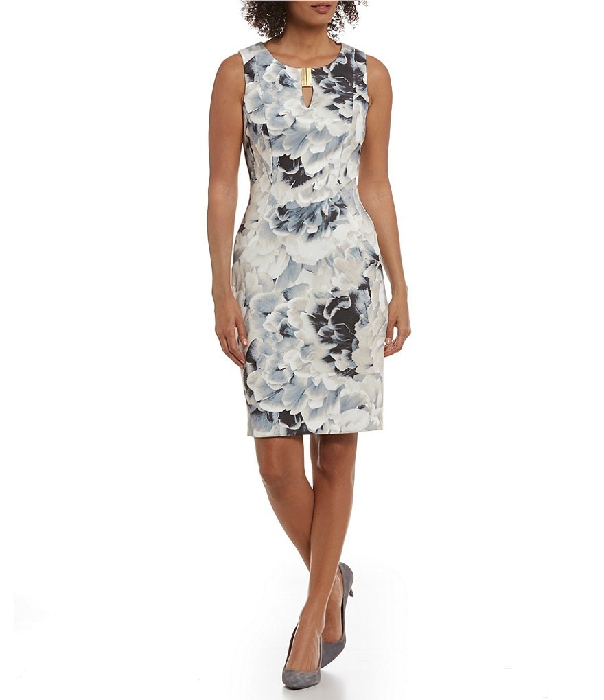 Calvin Klein Scuba Crepe Knit Floral Print Sheath Dress