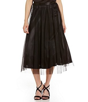 Marina Tulle Midi Pull-On A-line Skirt