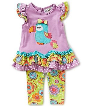 Rare Editions Baby Girls 3-24 Months Parrot-Appliqué Top and Leggings Set