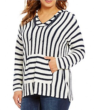 Vince Camuto Plus Seed Stitch Stripe Hooded Pullover