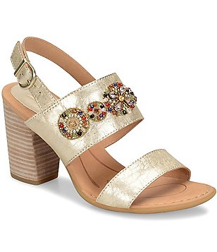 Born Brazilia Metallic Leather Floral Embellished Slingback Dress Sandals