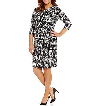 Calvin Klein Plus Round Neck 3/4 Sleeve Printed Faux Wrap Jersey Dress