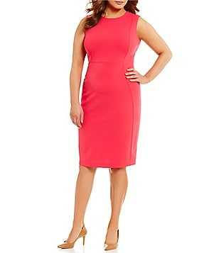 Calvin Klein Plus Round Neck Sleeveless Solid Scuba Sheath Dress