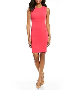 Calvin Klein Petite Sleeveless Scuba Sheath Dress