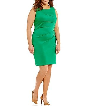 Calvin Klein Plus Round Neck Sleeveless Sideburst Scuba Dress