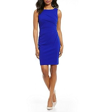 Calvin Klein Petite Sideburst Round Neck Sleeveless Scuba Dress