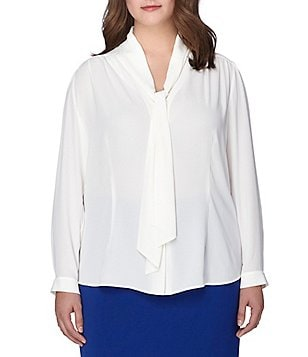 Tahari ASL Plus Long Sleeve Tie-Neck Crepe Blouse