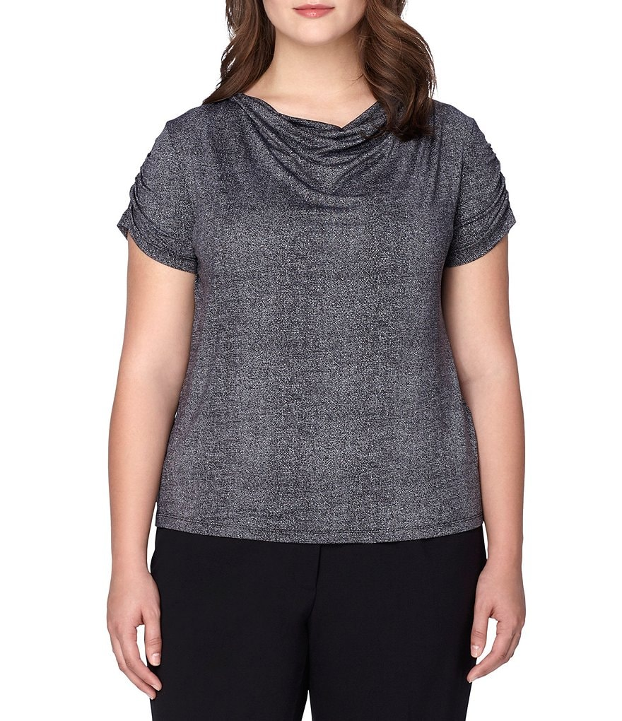 Tahari ASL Plus Cowl-Neck Jersey Top