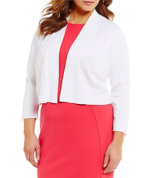 Calvin Klein Plus Open Front 3/4 Sleeve Basic Shrug