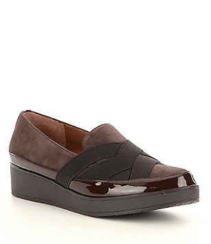 Donald J Pliner Vixie Suede and Patent Platform Slip-On Loafers