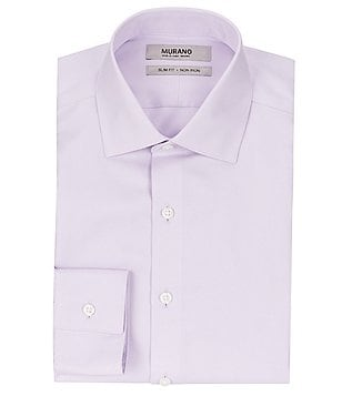 Murano Non-Iron Slim-Fit Spread-Collar Solid Textured Herringbone Dress Shirt