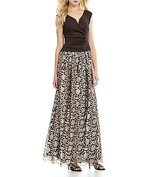 Marina V-Neck Knit Top & Metallic Brocade A-Line Ball Skirt