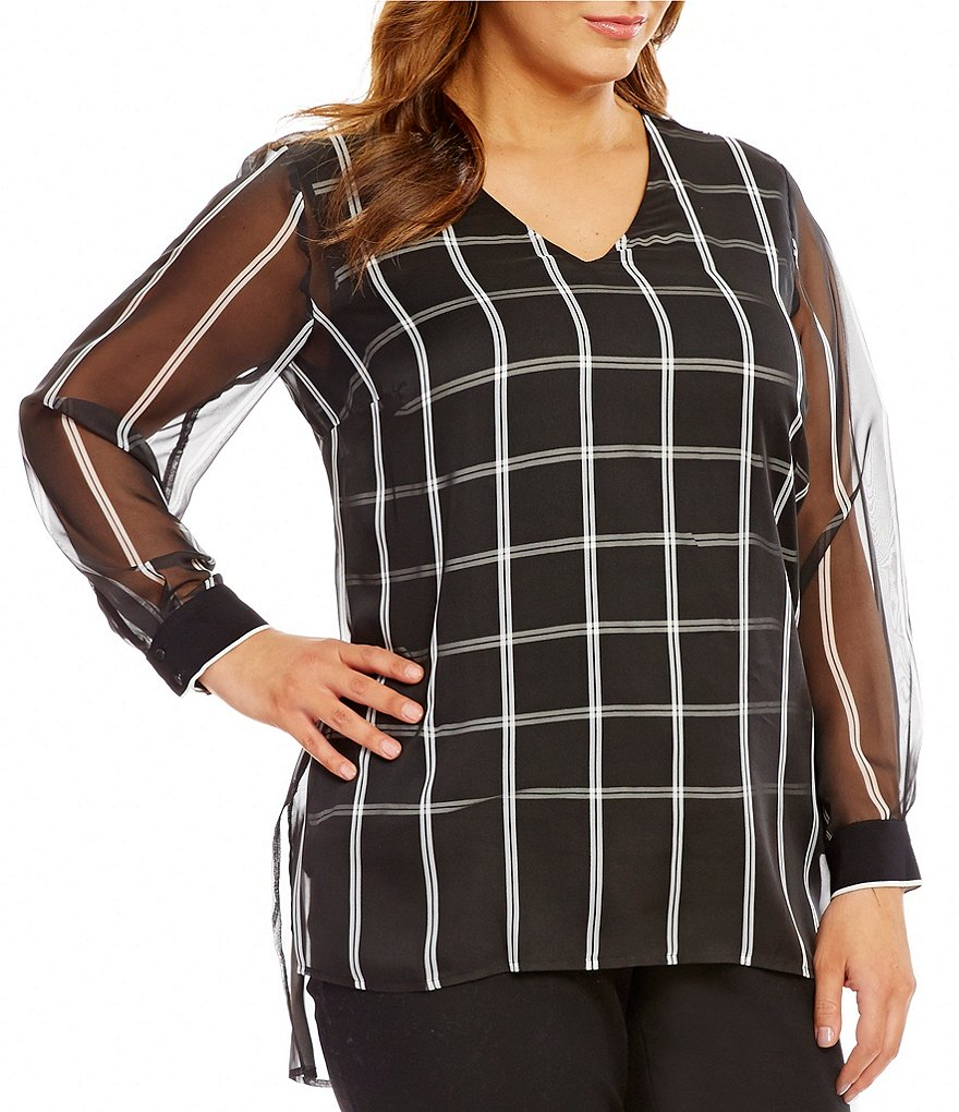 Vince Camuto Plus Long Sleeve V- Neck Stripe Duet Blouse