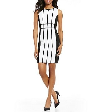 Calvin Klein Petite Colorblock Sleevless Pipping Sheath Dress
