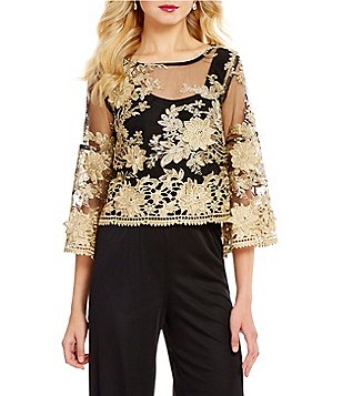 Marina Metallic Illusion Mesh Lace Cropped Blouse