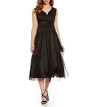 Marina Sleeveless V-Neck Techno Knit Top & Tulle Midi Skirt