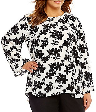 Vince Camuto Plus Bell Sleeve Small Fresco Bloom Blouse
