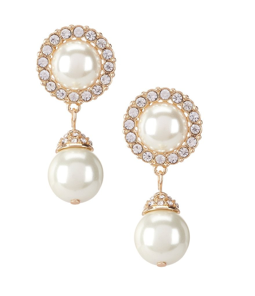Gemma Layne Pavé Faux-Pearl Drop Earrings