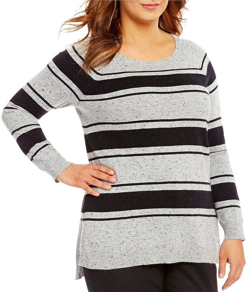 Vince Camuto Plus Long Sleeve Speckled Stripe Sweater