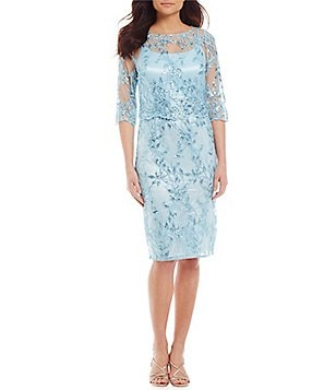Brianna Sequin Embroidered Popover 3/4 Illusion Sleeve Dress