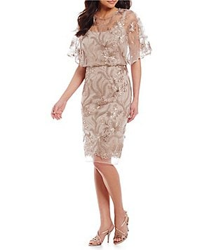 Brianna Sequin Embroidered Short Sleeve Illusion Yoke Blouson Dress