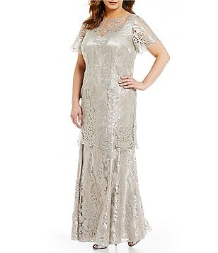 Brianna Plus Short-Sleeve Embroidered Popover Gown
