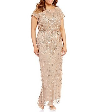 Brianna Plus Round Neck Short Sleeve Sequined Blouson Gown
