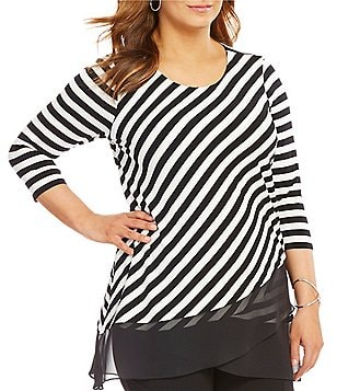 Vince Camuto Plus 3/4 Sleeve Palais Stripe Top