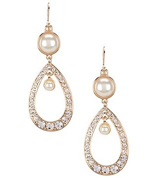 Gemma Layne Pavé & Pearl Teardrop Statement Earrings