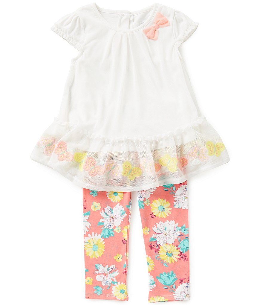 Rare Editions Baby Girls 3-24 Months Embroidered Dress and Printed Leggings Set