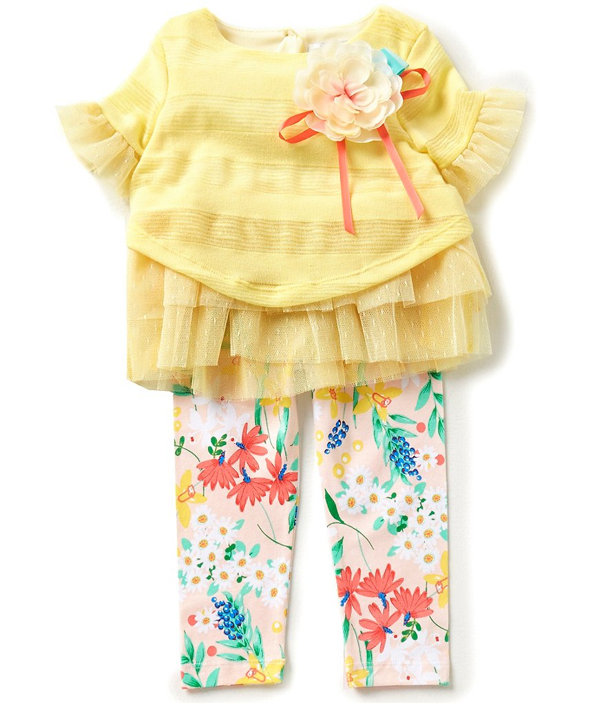 Rare Editions Baby Girls 12-24 Months Striped Flower-Appliquéd Top and Floral-Printed Leggings Set