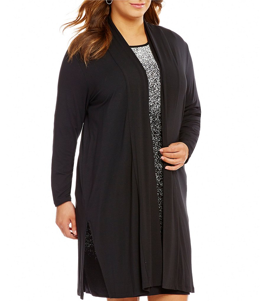 Vince Camuto Plus Open Front Maxi Knit Cardigan