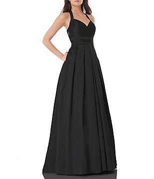 Carmen Marc Valvo Infusion Sweetheart Halter Neck Solid Ballgown