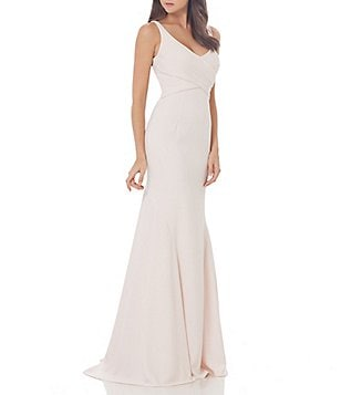 Carmen Marc Valvo Infusion V-Neck Draped Back Crepe Gown