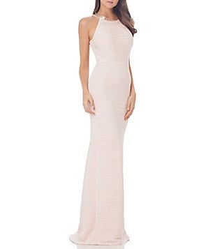 Carmen Marc Valvo Infusion Beaded Halter Neck Gown