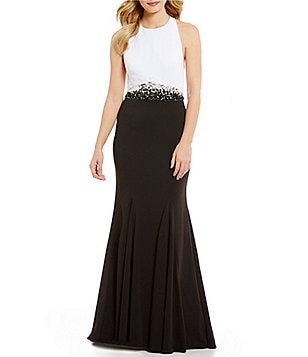 Carmen Marc Valvo Infusion Halter Neck Two Tone Beaded Waist Gown