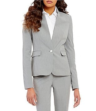 Calvin Klein Petites Luxe Stretch Pinstripe Suiting One-Button Jacket