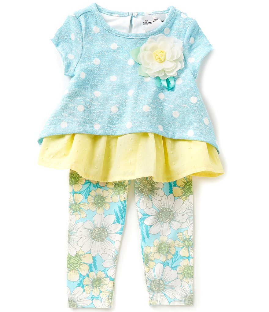 Rare Editions Baby Girls 12-24 Months Dotted Top and Floral-Printed Leggings Set