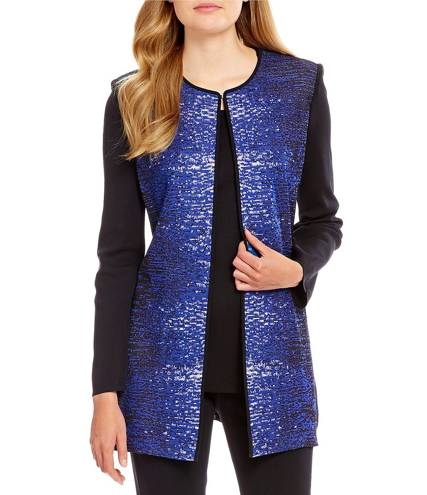 Misook Long Sleeve Open-Front Long Pattern Jacket