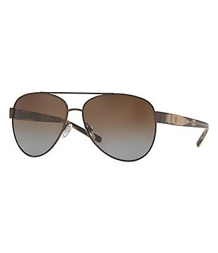Burberry Polarized Check Aviator Sunglasses