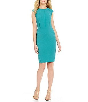 Calvin Klein Cap Sleeve Scuba Crepe Solid Dress