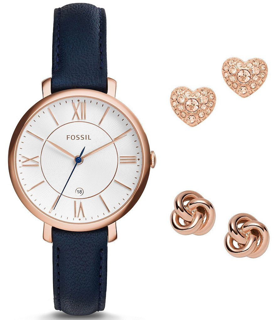 Fossil Jacqueline Watch & Earrings Boxed Set