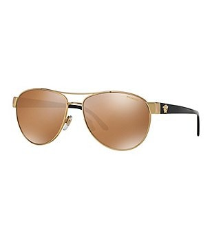 Versace Medusa Polarized Mirrored Aviator Sunglasses