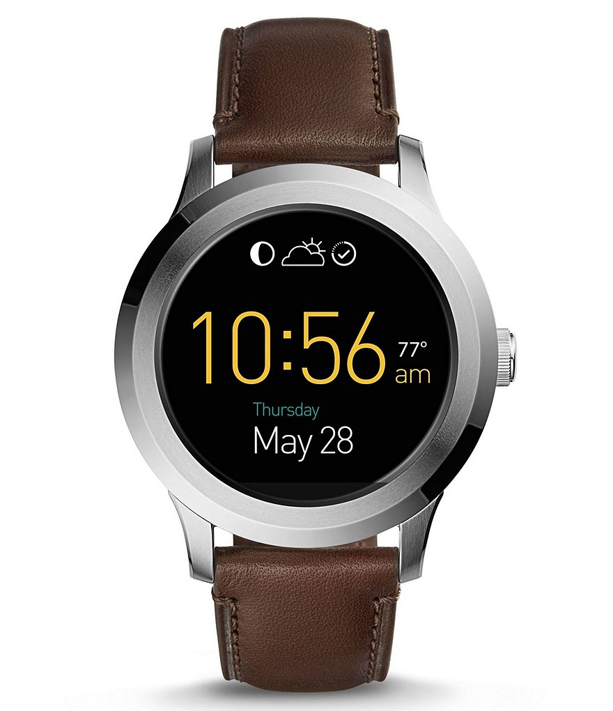 Fossil Q Founder 2.0 Touchscreen Leather-Strap Smart Watch
