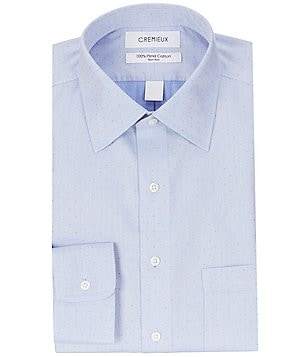 Cremieux Non-Iron Fitted Classic-Fit Spread-Collar Textured Dobby Dress Shirt