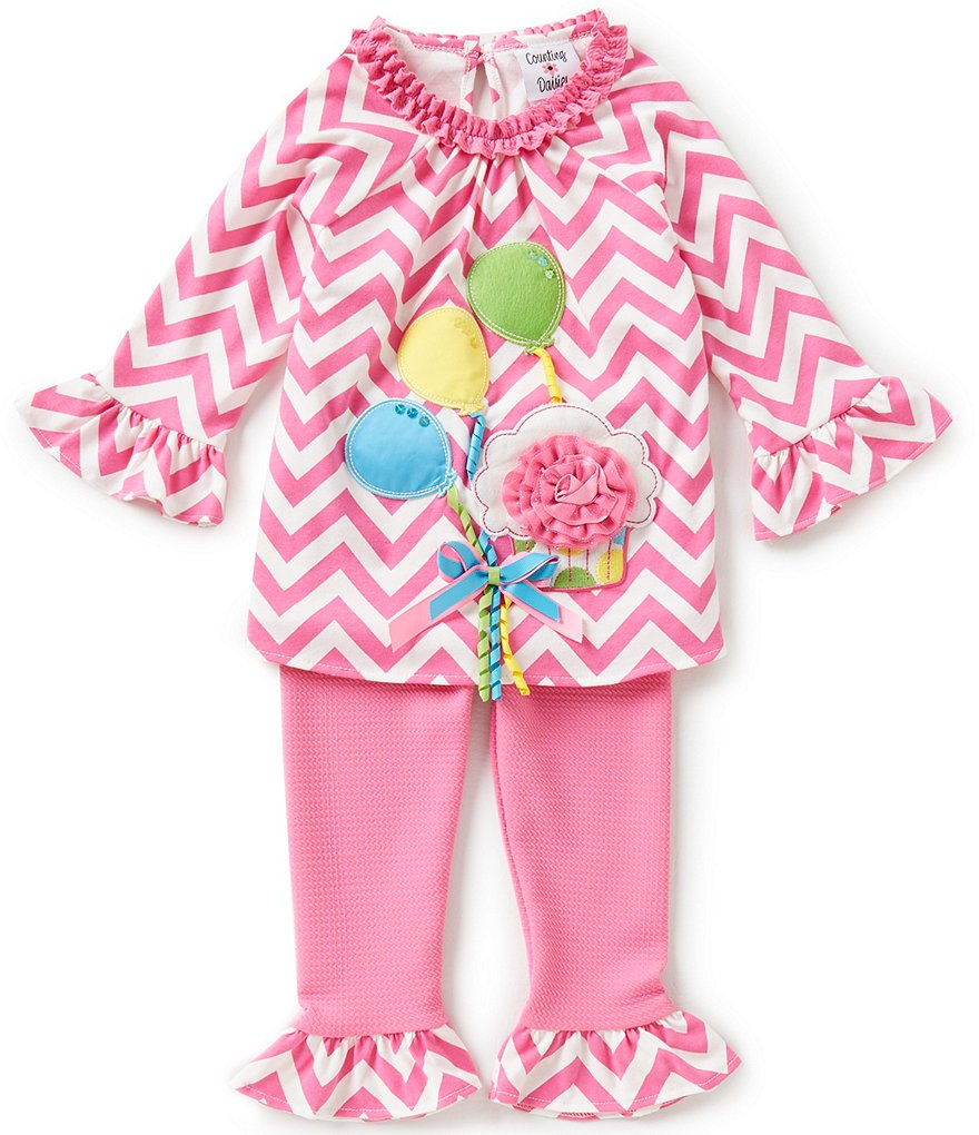 Rare Editions Baby Girls 12-24 Months Chevron-Printed Ruffle Bell-Sleeve Balloon Appliqué Dress and Solid Pants Set