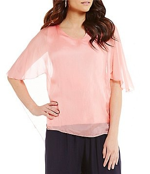 M Made in Italy Scoop Neck Short Sleeve Hi-Low Poncho Tunic